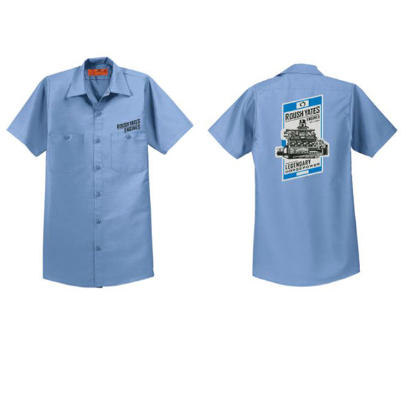ROUSH YATES ENGINES Light Blue WORK SHIRT with Roush Yates Engines screen  printed in black on above front pocket and vintage poster graphic on back