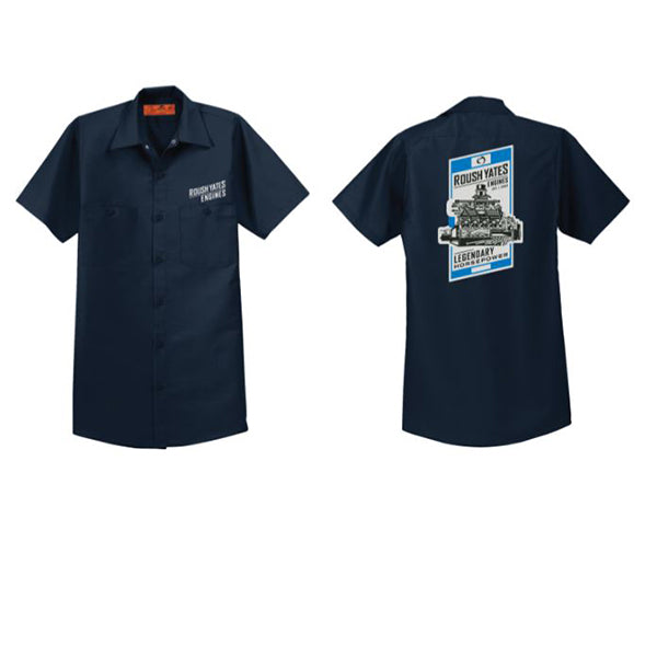 ROUSH YATES ENGINES Navy Blue WORK SHIRT with Roush Yates Engines screen  printed in black on above front pocket and vintage poster graphic on back