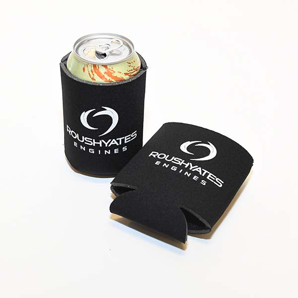 Black koozies with white Roush Yates Engines logo screenprinted