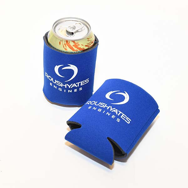 Royal Blue koozies with white Roush Yates Engines logo screenprinted