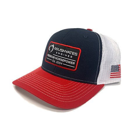 Side view Red, White, Blue hat with Roush Yates Engines patch on front, trimmed in red and embroidered flag on the side.