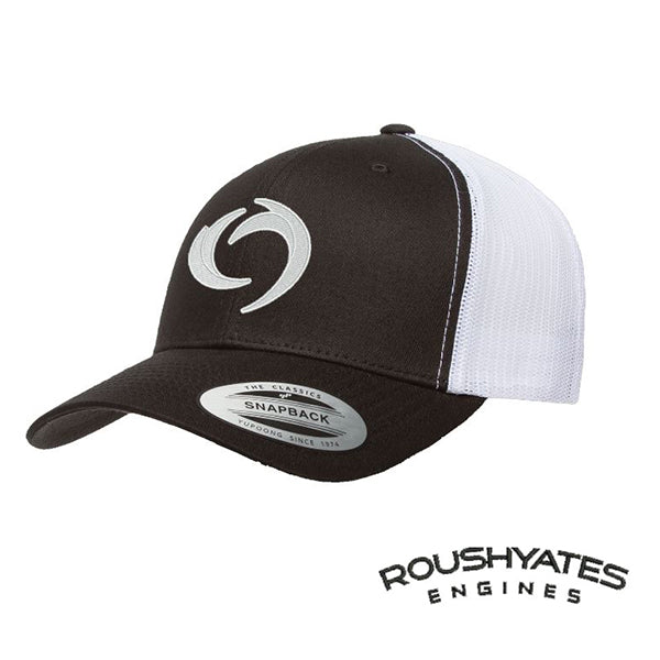 Hat, Black and white snap back hat with white embroidered storm icon on front and black Roush Yates Engines in black script on the back