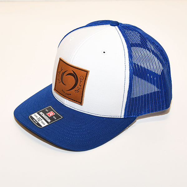 ROUSH & YATES LEATHER PATCH HAT - WHITE / BLUE
