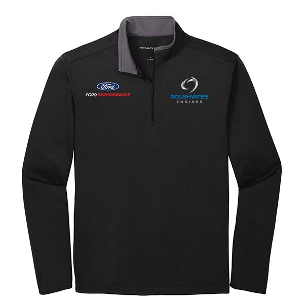 Black quarter zip with ford performance and roush yates engines embroidered on front
