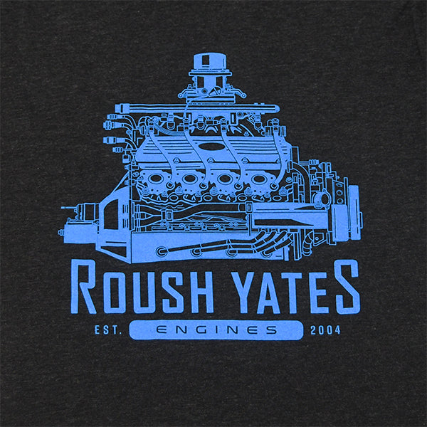 T-shirt, Retro Black Heather Roush Yates Engines FR9 engine CAD drawing on Front