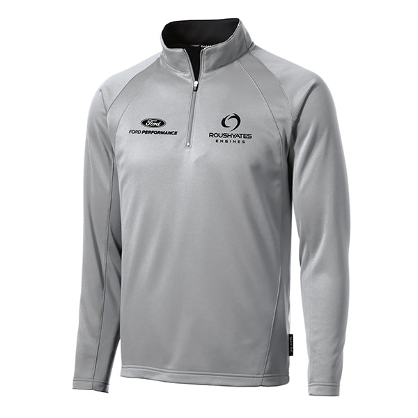 Slate Grey Quarter Zip sweatshirt with black embroidered Ford Performance and Roush Yates Engines logos on front