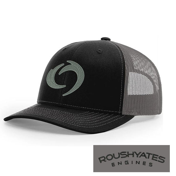 Hat, Black and charcoal snap back hat with silver embroidered storm icon on front and black Roush Yates Engines in black script on the back