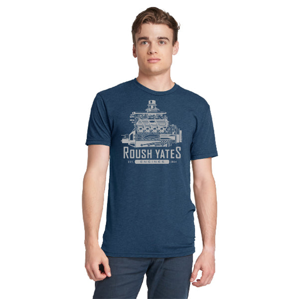 T-shirt, Retro Blue Roush Yates Engines FR9 engine CAD drawing  in ivory on front