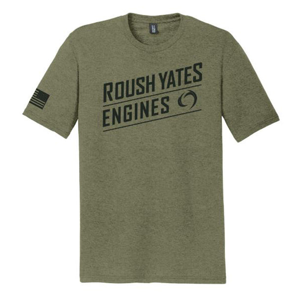 T-shirt, Military green with Roush Yates Engines script screen printed on front in black and USA flag on right sleeve