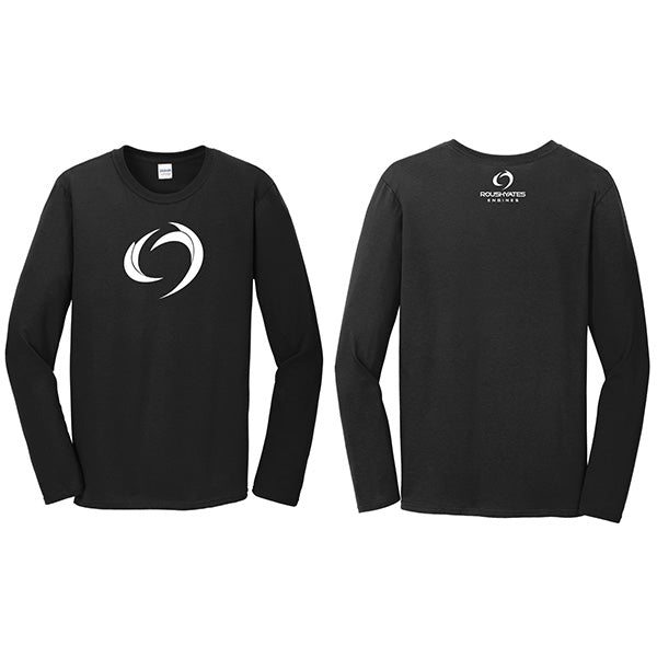 Long Sleeve Black Shirt with a white Storm icon screen print on the front and company logo on back nape.