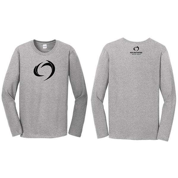 Long Sleeve grey shirt with a black Storm icon screen printed on the front and company logo on back nape.