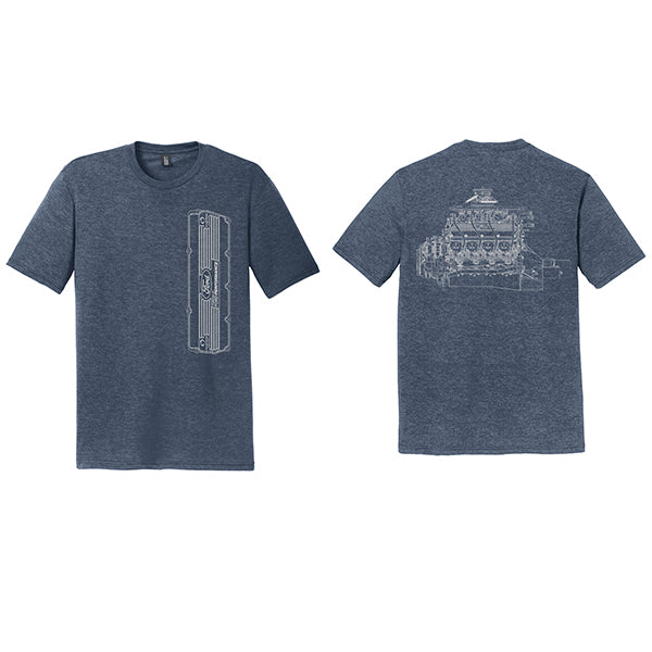 VALVE COVER T-SHIRT - NAVY FROST