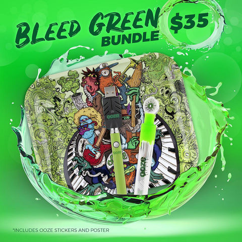 The Ooze Bleed Green bundle is shown against an electric green background. The large Bandjam rolling tray is shown behind a green Slim Twist vape battery with the smart usb charger, and green Glass Blunt Slider in front.