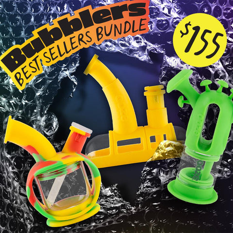 A graphic showing the Bubblers Best Sellers bundle for Black Friday. From left to right, it shows a Rasta Ooze Kettle, Yellow Steamboat, and Green Trip