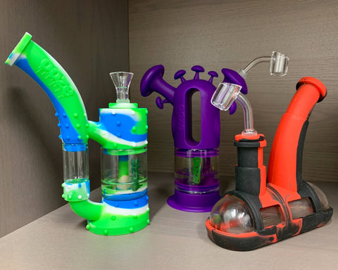 Green and Blue Stack Dab Rig, Purple Trip Bong, Red and Black Steamboat Rig