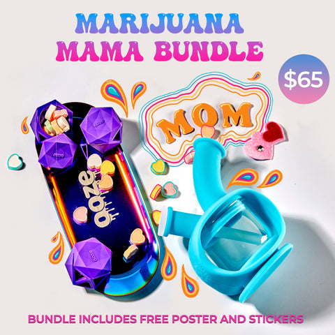 The Marijuana Mama Ooze bundle graphic. This shows the Aura rainbow rolling tray with candy hears and 3 purple Geode silicone glass stash jars. It has the teal Kettle bubbler to the right, on its side to show the water chamber. Orange letters spell out MOM just above the Kettle, and it reads Marijuana Mama Bundle at the top in a groovy font.
