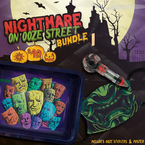 The Ooze Nightmare on Ooze Street Bundle graphic. The medium Mood Swings rolling tray, After Midnight Bowser Travel Pipe, and Troll Face Mask are all shown in front of a spooky house in the background.