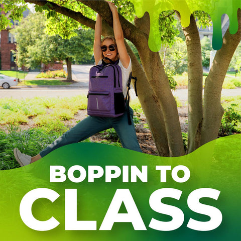 The Ooze Boppin to Class Spotify playlist cover. It shows a blonde girl hanging in a tree with her purple Ooze backpack on her chest. There is a green slime detail across the bottom that has the playlist title.