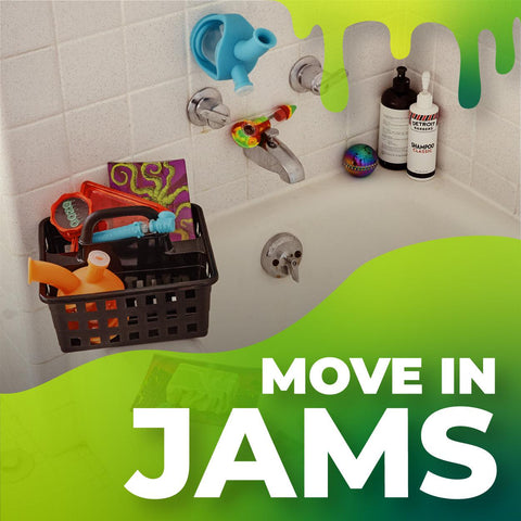 Ooze Move In Jams Spotify playlist cover. It shows a shower caddy filled with Ooze products sitting on the side of a white bathtub. The graphic has a green slime detail over the right bottom corner with the playlist title.