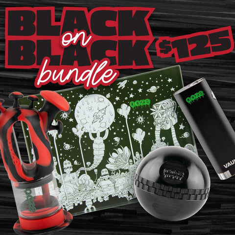 A graphic showing the Black on Black bundle for Black Friday. It shows the Ooze Black and Red Trip Pipe, Dystopia Glass Rolling Tray, Black Stealth Saturn Grinder, and Black Vault Battery.
