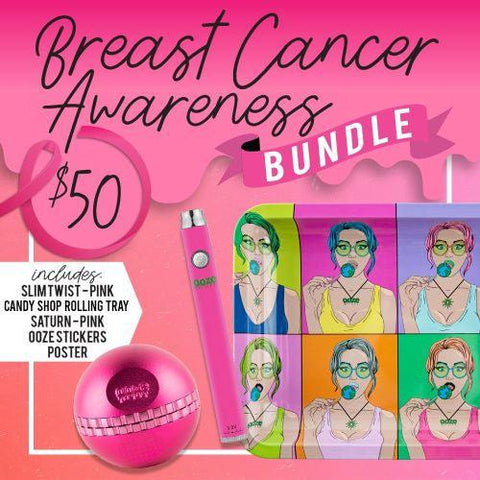The Ooze Breast Cancer Awareness Bundle graphic. It has a pink background and script font. It shows the Candy Shop rolling tray, Pink Slim Twist Vape Pen Battery, and the Pink Saturn Globe Grinder.
