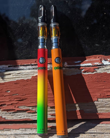 Two Ooze Slim Twist Vape pen batteries with matching oil cartridges with black mouthpieces are leaning against a window outside. The left battery is Rasta and the right battery is orange.