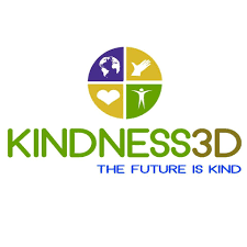 "The Kindness3D logo on a white background. It is a circle divided into four quadrants, and it says ""the future is kind"" in all caps underneath the company name."