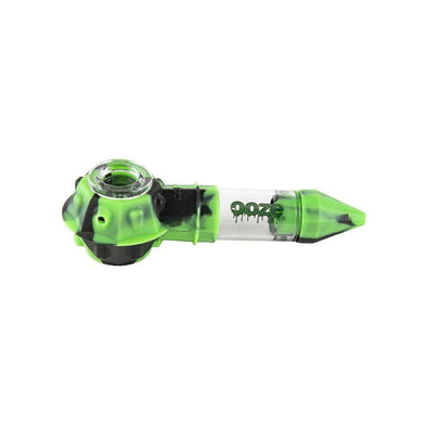 Ooze Bowser Silicone Glass Pipe - Black / Green Pipes