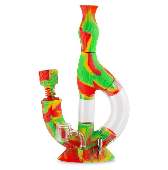 Echo Silicone Water Pipe & Nectar Collector - Rasta