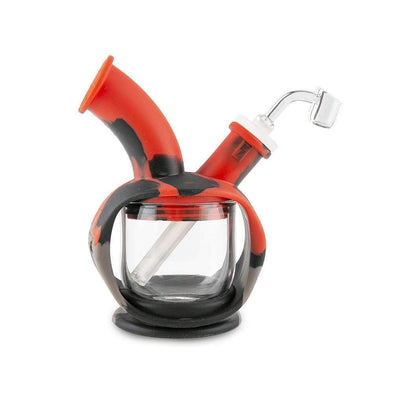 Ooze Kettle Silicone Bubbler - Black / Grey Red And Glass Water Pipe