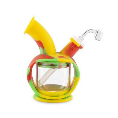 Ooze Kettle Silicone Bubbler - Rasta And Glass Water Pipe