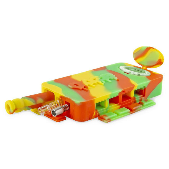 Ooze Slugger Dabbin Dugout - Rasta Silicone And Glass Water Pipe