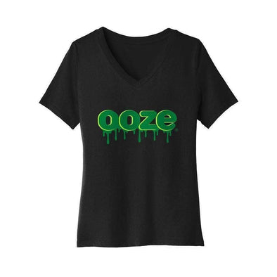 Ooze Logo V-Neck - Womens Small / Black T-Shirts