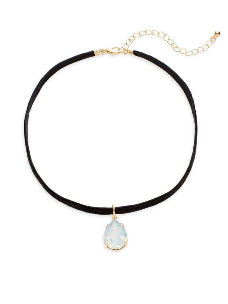 Cara Faux Suede Teardrop Crystal Choker Necklace - PitaPats.com