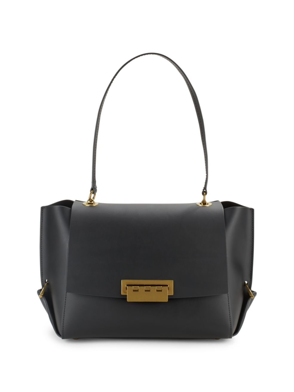 Zac Zac Posen Eartha Folded Gusset Shoulder Bag Black