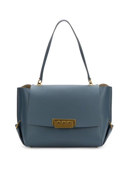 ZAC Zac Posen Eartha Folded Gusset Shoulder Bag - DARK GREY