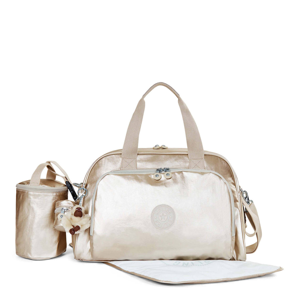 Kipling Camama Metallic Diaper Bag - Sparkly Gold