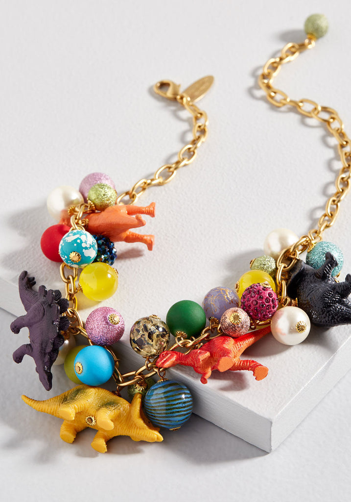 LENORA DAME Gold Plated Dino Bauble Go Full Fossil Necklace