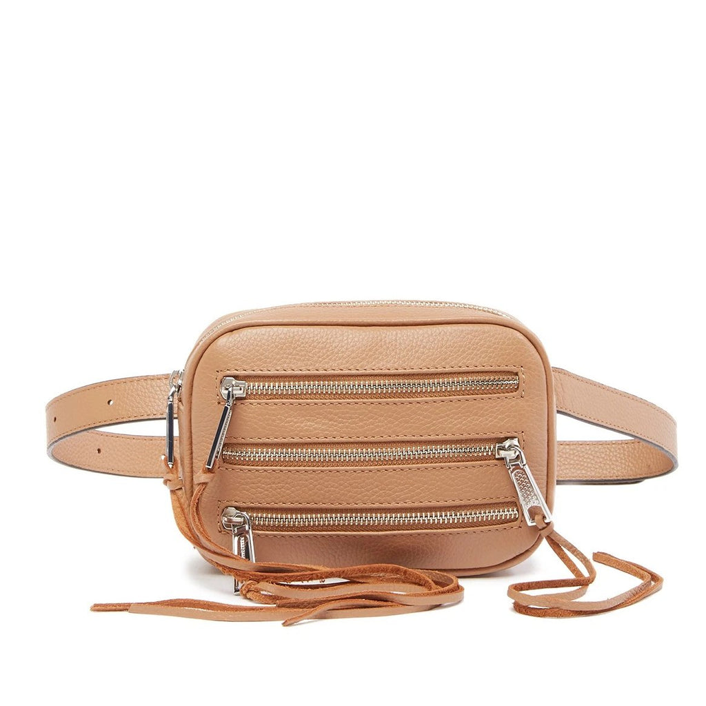 Rebecca Minkoff 3 Zip Leather Belt Fanny pack Bag DESERT TAN