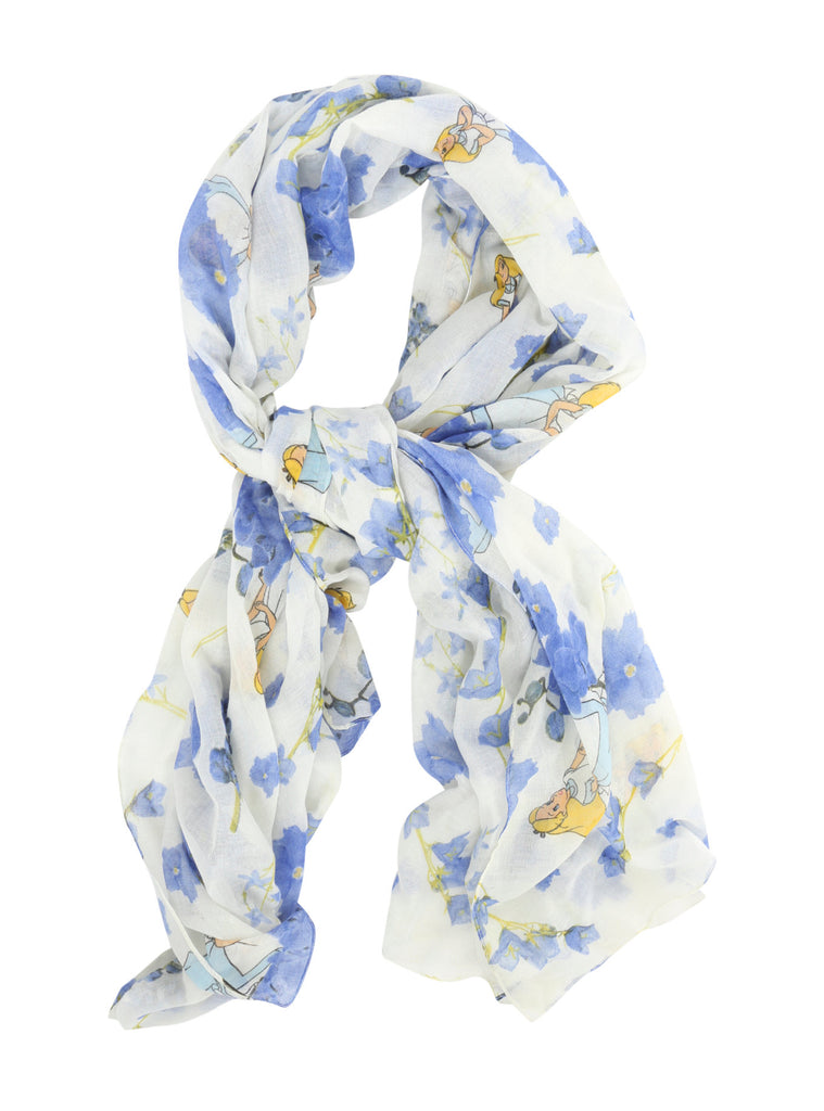 LOUNGEFLY DISNEY ALICE IN WONDERLAND BLUE FLORAL OBLONG SCARF