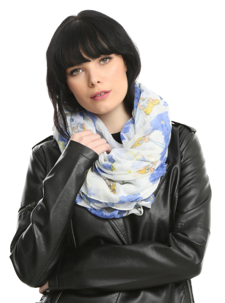 LOUNGEFLY ALICE IN WONDERLAND BLUE FLORAL OBLONG SCARF