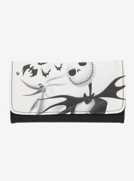 LOUNGEFLY THE NIGHTMARE BEFORE CHRISTMAS JACK & ZERO WHITE FLAP WALLET