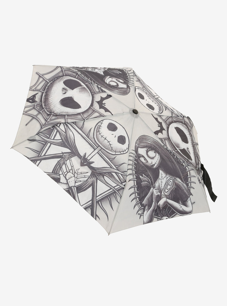 THE NIGHTMARE BEFORE CHRISTMAS JACK & SALLY SKETCH COMPACT UMBRELLA - PitaPats.com