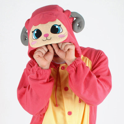 PITaPATs kids onesie animal jumpsuit costume - long sleeve pink sheep