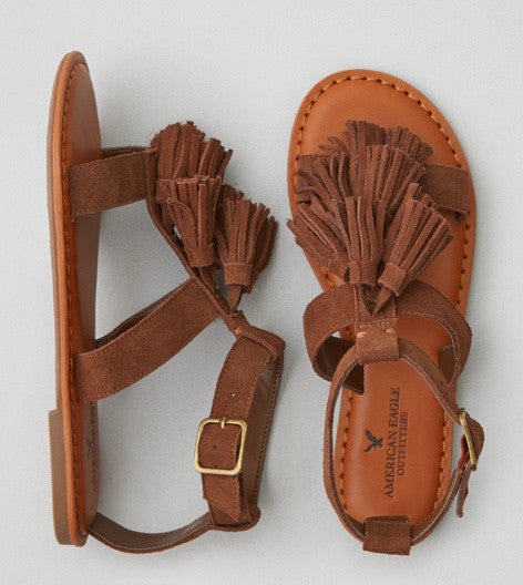 American Eagle Outfitters AEO TASSEL T-STRAP SANDAL - PitaPats.com