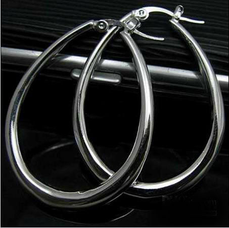 Sterling Silver Mega Tear Drop Hoop Earring - PitaPats.com