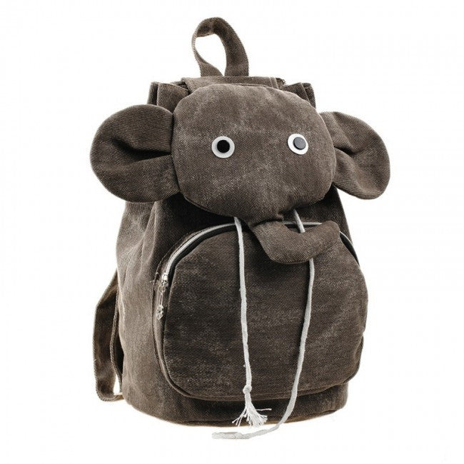 Denim Elephant Backpack For Kids - Brown - PitaPats.com