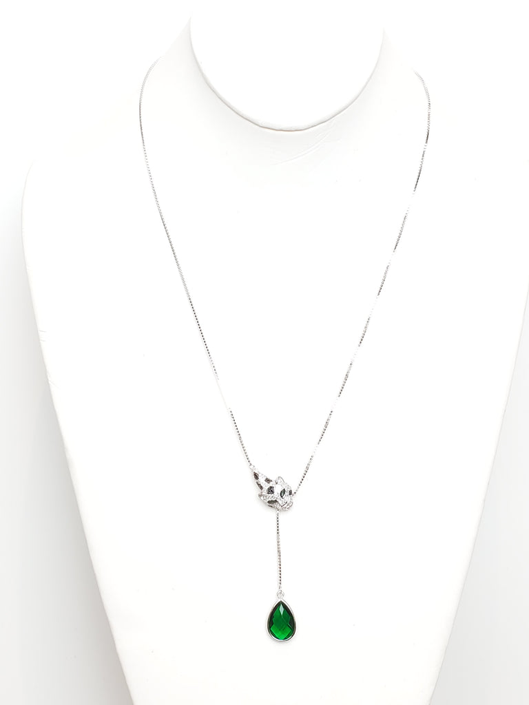 Sterling Silver Simulated Green Emerald Panther Necklace