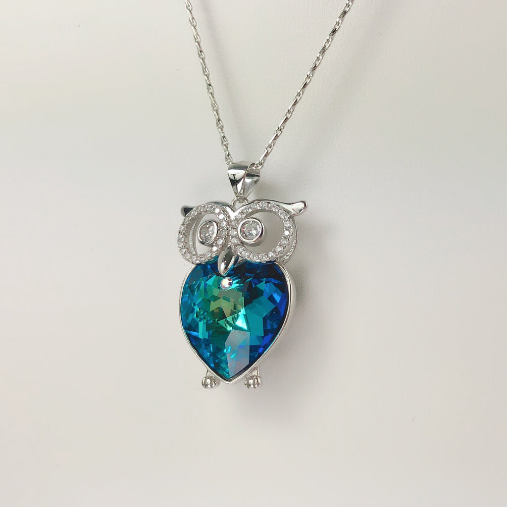 LARA ROES Sterling Silver Mistic Swarovski Crystal Blue Heart Wise Owl Caged Pendant Necklace