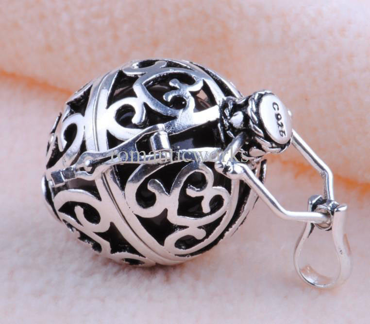 Sterling Silver Bell Sound Caged Ball Necklace - PitaPats.com